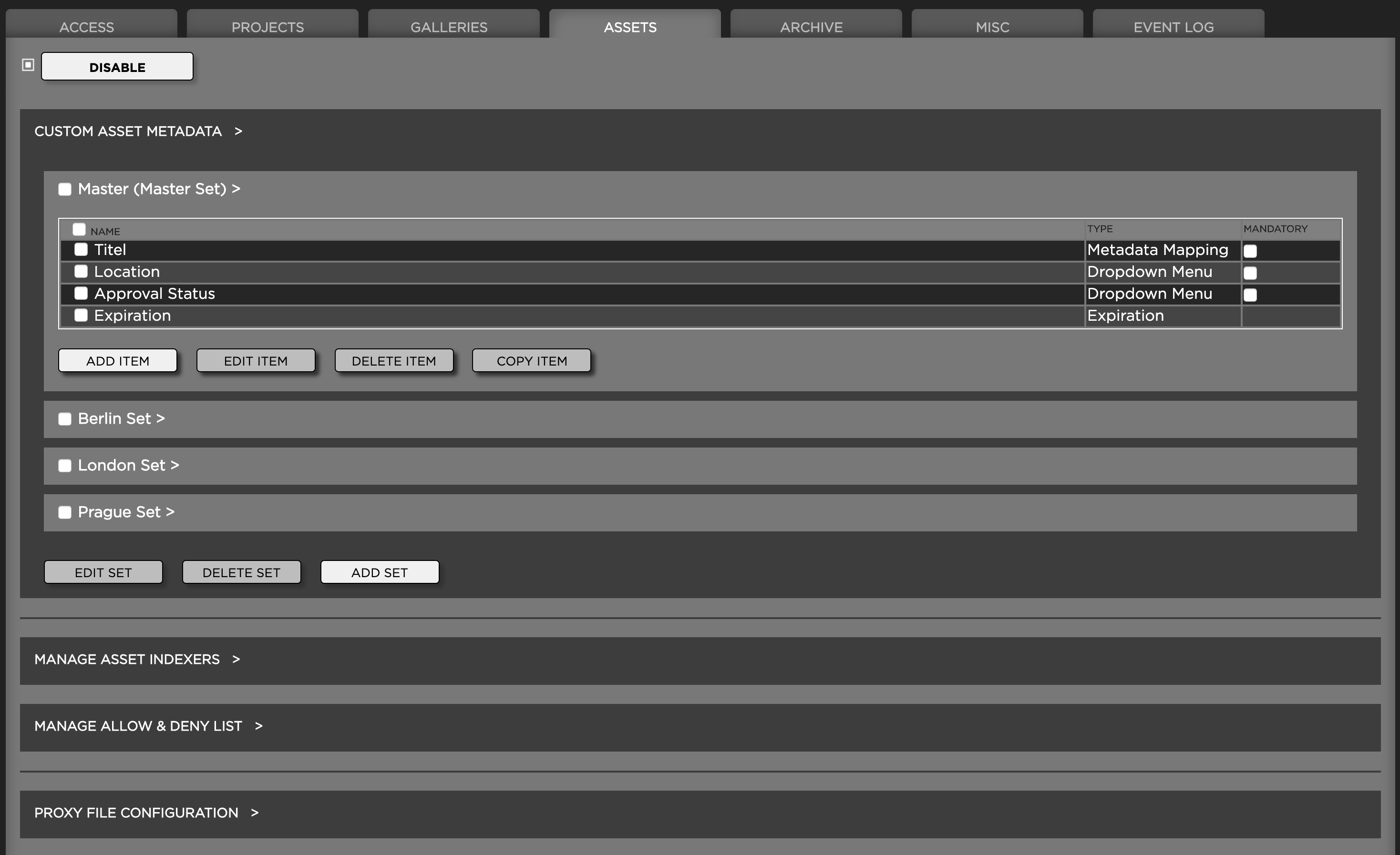 Custom Asset Metadata Screenshot
